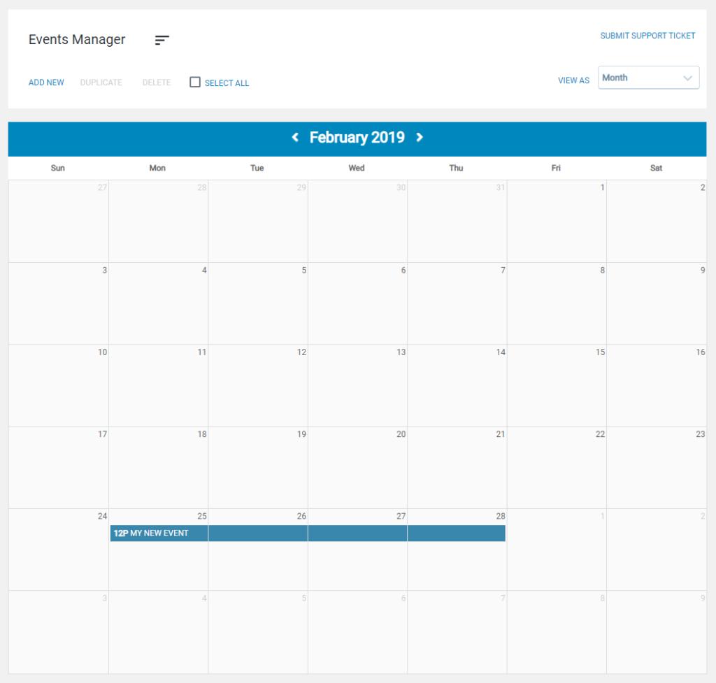 calendar with event