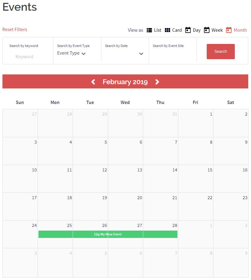 event calendar frontend