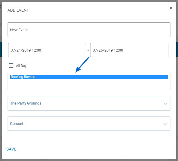 Assign Performer New Event