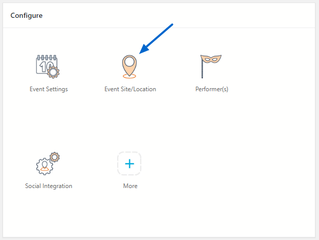 Dashboard Event Site Settings