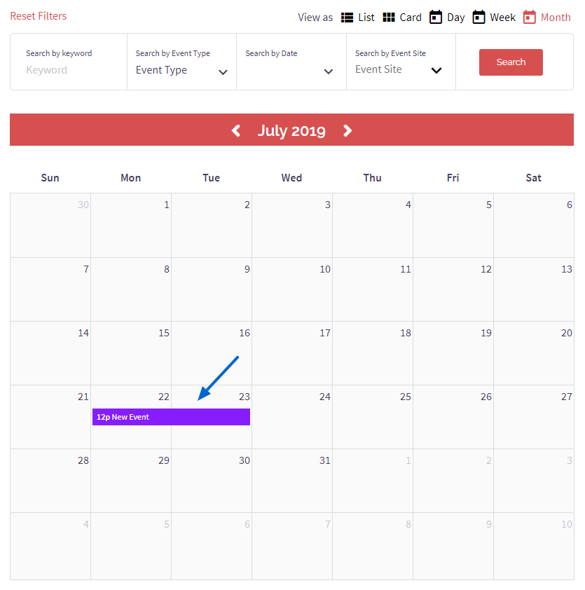 Event Type Calendar Color