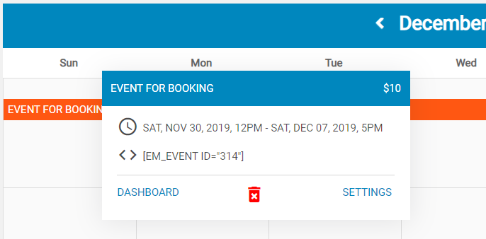 Event Hover Popup for Booking