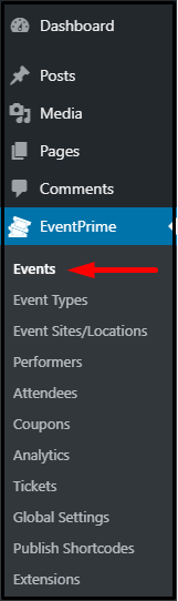 Publish user group specific events: EventPrime Dashboard Navigation