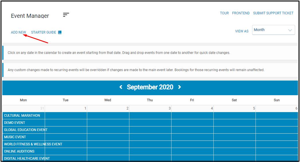 Seamless Events Calendar