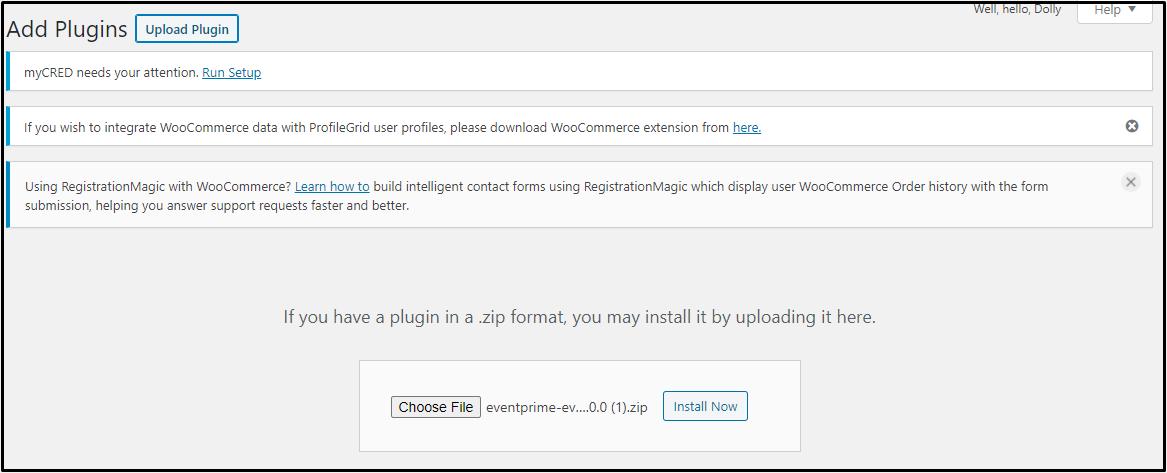Add Events Wishlist: EventPrime Extension WordPress Dashboard Add Plugins