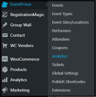 Publish user group specific events: EventPrime Menu Navigation