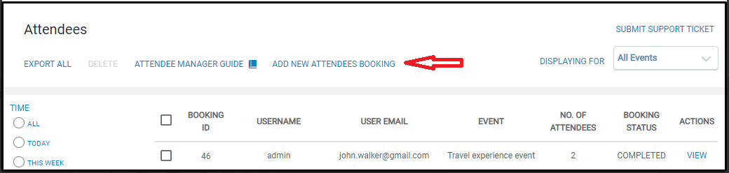 Custom attendee bookings: EventPrime Attendees screen