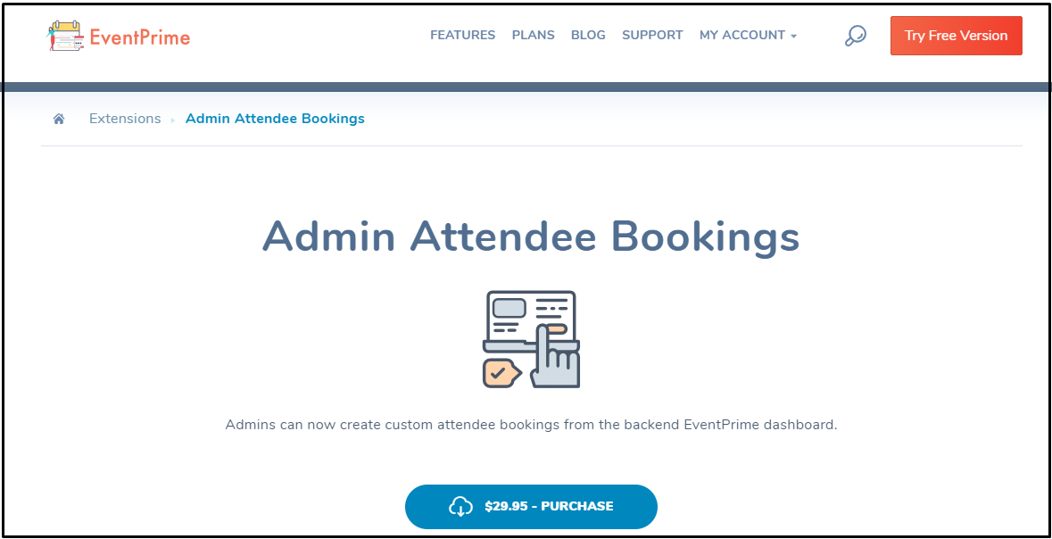 Custom attendee bookings: EventPrime Admin Attendee Bookings Extensions