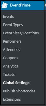 Custom attendee bookings: EventPrime Global Settings Navigation