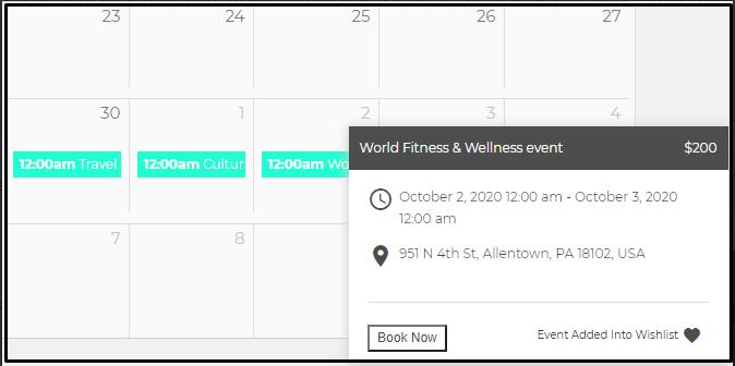 Seamless event calendar
