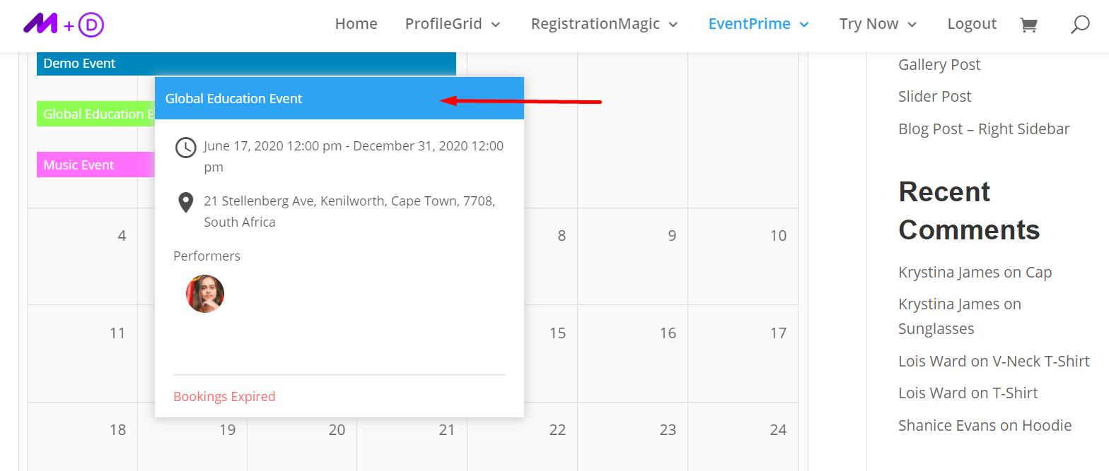 Event Overview- WordPress Event Management Plugin