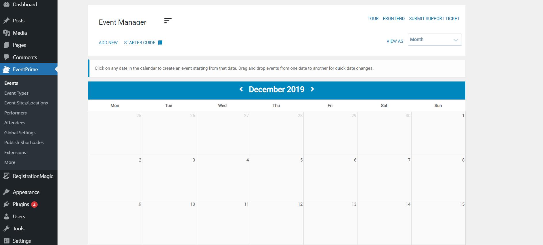Recurring calendar events