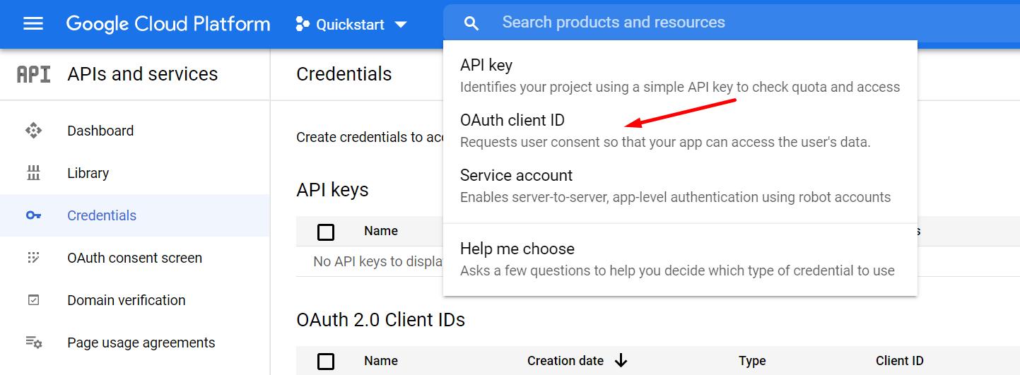 Create credential
