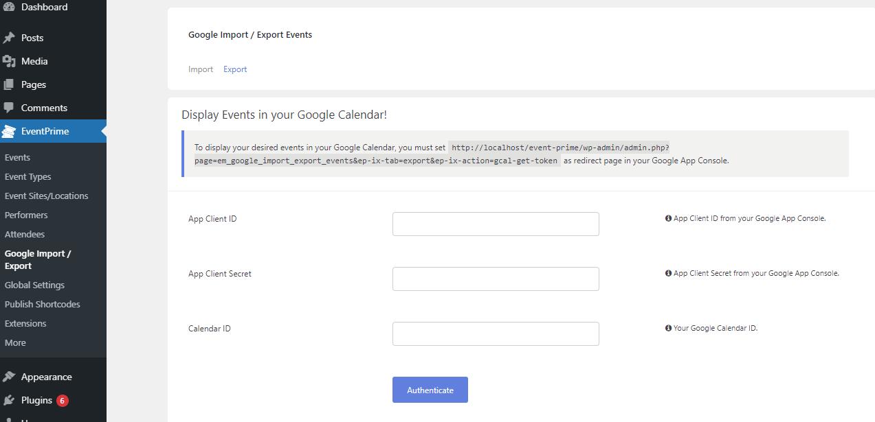 EventPrime Google Export Import